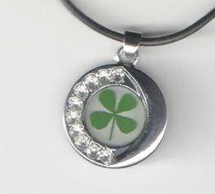 Necklace Shamrock Four Leaf Clover Sun Moon Pendant Charm Crystal Lucky Irish #Unbranded #Pendant