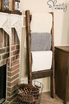 """Our first post is a super easy and inexpensive DIY Blanket Ladder. I love making my home feel comfortable but chic ;) for the holidays, whether it be for my own family or our guests! I've seen a lot of ladders for blankets in the past but, I wanted a specific """"shanty"""" look!"""