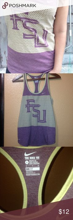 Nike FSU tank For lovers of Florida State University Or you can just like how it looks && the fact of a great deal :D by Nike   Dri fit material Airy free flowy muscle tee Front and back is semi longer than sides  A great fit  && in perfect condition. HELLO! Nike Tops Muscle Tees