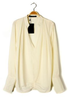 White Ruffle V-neck Clipping Long Sleeve Chiffon Blouse