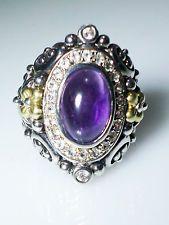 Barbara Bixby Sterling Silver 18k Gold Cabochon Amethyst White Topaz Ring 8