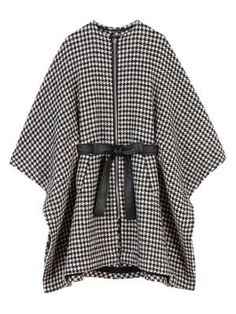 Maje Giro Belted Houndtooth Poncho Coat In Open White Maje Clothing, Poncho Coat, Coats For Women, Clothes For Women, Family Outfits, Print Jacket, Houndstooth, Playsuit, Stylish
