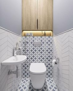 fish scale tiles, hexagon tiles and quatrefoil tiles the latest tiles 18 Small Downstairs Toilet, Small Toilet Room, Bathroom Design Luxury, Bathroom Design Small, Small Toilet Design, Modern Toilet Design, Toilet Room Decor, Ideas Baños, Wc Design