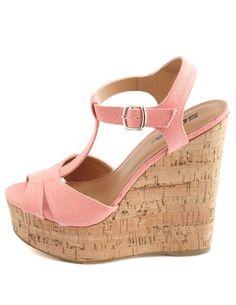 Canvas T-Strap Cork Wedge Sandal