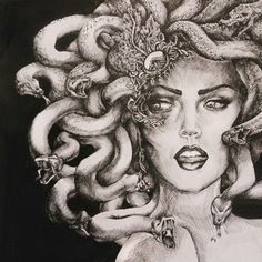 Medusa Greek. A Gorgon, associated with blood, snakes, the moon; both sacred and terrible. She had the power to turn those who looked upon her into stone.