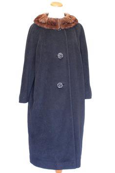 60's Vintage Coat Black in Wool with Fur by pinebrookvintage, $75.00