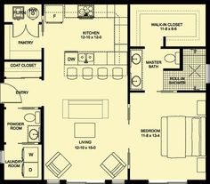 Adorable Cottage Plan with Open Layout - House plans - The Plan, How To Plan, Plan Plan, Cottage House Plans, Cottage Homes, One Bedroom House Plans, Master Bedroom Plans, Master Bedroom Layout, Bathroom Layout