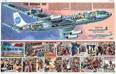 Boeing 707 Pan Am jet clipper cutaway drawing
