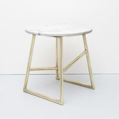 Image of Algedi Table, Brass/Marble
