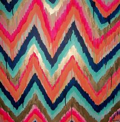 Custom ikat chevron 40x60 Painting by Jennifer by JenniferMoreman