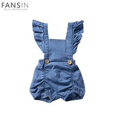 5687560cc6c Aliexpress.com   Buy Baby Girl Romper Denim Ruffle Sleeves Backless Baby  Clothes Sunsuit Sleeveless Summer Toddler Kids Clothes Jumpsuit Outfit 0  24M from ...
