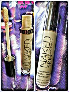 Urban Decay Naked Skin:   After trying lots of under eye concealer I came across this guy. I wanted something that wouldn't settle in fine lines and wouldn't be drying on the skin. This one works great for what I want. I apply this to my under eye area then use a damp beauty blender to blend out. 😊