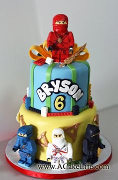 Ninjago Themed tier cake Tarng Tarng Vogler We would want the green ninja, Lloyd featured though. Just an idea. Bolo Ninjago, Bolo Lego, Lego Ninjago Cake, Ninjago Party, Lego Cake, 6th Birthday Cakes, Ninja Birthday Parties, Birthday Ideas, Kid Parties