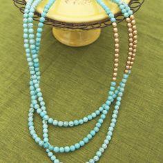 Image of K.amato Long Layered Turquoise and Gold Beads