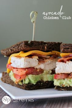 California Avocado Chicken Club Sandwich! This club sandwich recipe has amazing fresh ingredients; juicy grilled chicken, avocado and an amazing mayo!