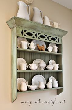 Vintage French Soul ~ Savvy Southern Style: More Of My Ironstone Collection Home Decor Kitchen, Rustic Kitchen, Diy Home Decor, Painted Furniture, Home Furniture, Kitchen Dresser, Savvy Southern Style, Inspired Homes, Shelving