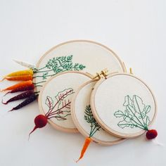 Felted Veggies Cling to Embroidery Hoops by Veselka Bulkan (Colossal) Embroidered Leaves, Textiles, Embroidery Hoop Art, Embroidery Sampler, Crafty Craft, Crafting, Textile Art, Handicraft, Needle Felting