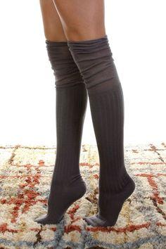 Rayon and acrylic blend knee high socks. Grey.