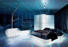Comfy and Cool Bedroom Design in TRON Legacy Inspiration for Home Designing Futuristic Interiors