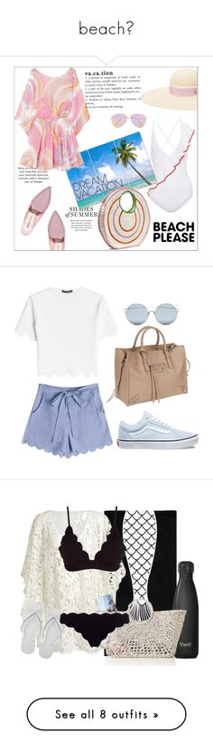 """beach💧"" by oliviargibb ❤ liked on Polyvore featuring Nicholas Kirkwood, Marysia Swim, Emilio Pucci, Maison Michel, Victoria Beckham, Sophie Anderson, vacation, polyvorecontest, BeachPlease and vacayoutfit"