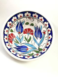 Samur Turkish ceramic bowl-handmade painted Kutahya ceramic-special tile bowl-Traditional kitchen bowl-Ottoman gift-food safe Turkish kase Samur (sable) style tulip-clove patterned painting ceramic bowl Handmade painted Turkish ceramic bowl ceramic bowl size 12x5 cm Kutahya Tile
