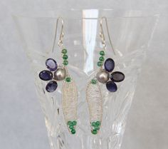 Iolite Pearl Flower Dangle Earrings, Sterling Silver Wire Wrapped Woven, Handmade Gemstone Beaded Jewelry, Navy Blue, Silver & Green Gems by AdornmentsAndFrills on Etsy
