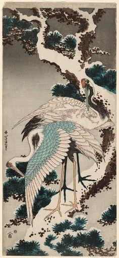 Katsushika Hokusai: Cranes on a Snow-covered Pine Tree
