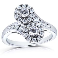 Two-Stone-Diamond-Curved Ring-1-CTW-in-14k-White-Gold