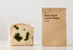These are sandwich bags that have green fungus-like patches printed on both sides of  their plastic body, making your fresh lunch look spoiled.