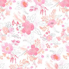 Pink Watercolor Bouquet Fabric by emilysanford