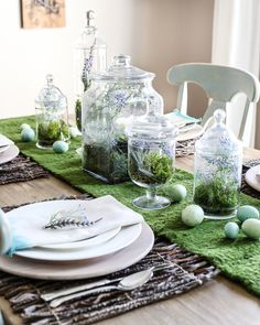 Apothecary Jar Terrarium Easter Centerpiece | blesserhouse.com - An apothecary jar terrarium Easter centerpiece and tablescape for a vintage style look with a budget-friendly price tag, plus more Easter entertaining ideas.