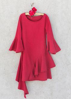 Milly Dress in Red - Jeune Fille Ruffle Dress, Baby Dress, Divas, Mini Diva, Cool Silhouettes, Korean Fashion Street Casual, Toddler Girl Dresses, Toddler Girls, Asymmetrical Dress