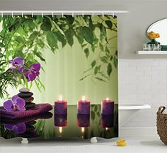 Spa Decor Shower Curtain Set By Ambesonne Zen Stones Aromatic Candles And Orchids Blooms Treatment Vacation  Bathroom Accessories 69W X 70L Inches * Click image for more details. Note:It is Affiliate Link to Amazon.