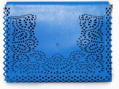 Laser cut out clutch have blue, neon pink, neon yellow and black color, styling yours with denim jeans or dress!