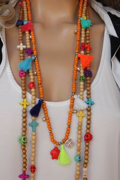 3 PCS Wooden Tassel Long Boho Necklace Set por monroejewelry