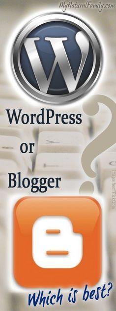 Wordpress vs. Blogger Comparison - MyNaturalFamily.com #wordpress #blogger