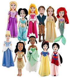 Disney Princess Plush - disney princess dolls… is it just me or do Flynn/Eugene seem pretty happy to be the only guy with all the princesses lol 🙂 Disney Princesses And Princes, Disney Princess Dolls, Disney Princess Dresses, Disney Dolls, Princess Dress Patterns, Disney Babies, Mulan Doll, Cinderella Doll, Ariel Doll