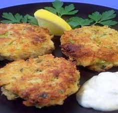 "Poor Man's Zucchini ""Crab"" Cakes    1 ½ cup shredded zucchini, patted dry    1 cup bread crumbs    2 tbsp grated onion    2 tbsp all- purpose flour    1 tbsp mayonnaise    1 tsp old bay seasoning    2 eggs slightly beaten    Oil for frying         Combine all the ingredients. Heat oil for frying and drop by rounded spoonful into oil and fry until crisp brown. Serve with tarter sauce."
