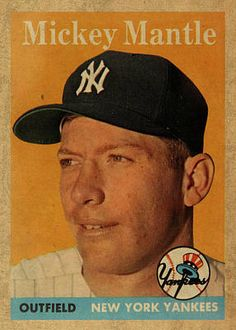 1958 Topps Baseball Mickey Mantle Card Vintage Poster Art Print by Design Turnpike. All prints are professionally printed, packaged, and shipped within 3 - 4 business days. Baseball Card Values, Old Baseball Cards, Baseball Photos, Football Cards, Baseball Art, Baseball Scoreboard, Baseball Videos, Baseball Signs, Baseball Stuff