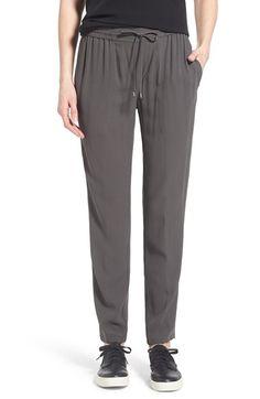 Eileen Fisher Silk Crepe Drawstring Waist Ankle Pants