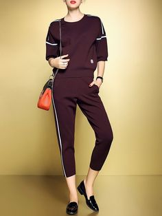 3a0bb8479f Wine Red Two Piece Color-block Casual Crew Neck Jumpsuit