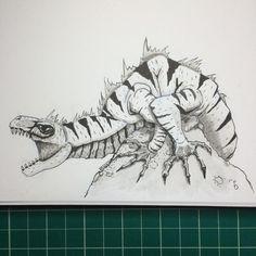 Inktober Day 16 A lizard creature. #inktober #inktober2015 #inktoberday16 #noodlers black #lizard #fantasy #brushpens #waterbush