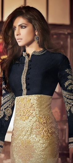 420982, Bollywood Salwar Kameez, Silk, Net, Bhagalpuri, Stone, Zardozi, Sequence, Resham, Black and Grey, Gold Color Family