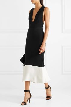 Roland Mouret | Firsoff two-tone crepe midi skirt