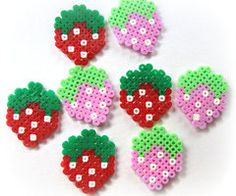 Kawaii Cute Hama/Pearler Strawberries Pack of 4 by Pelemele