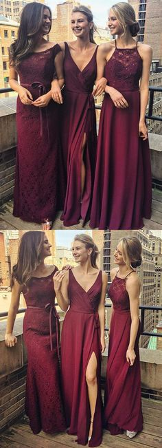 Burgundy A Line Floor Length Sleeveless Appliques Beading Cheap Bridesmaid  Dresses B200 long bridesmaid dress e3f2af0e64e6