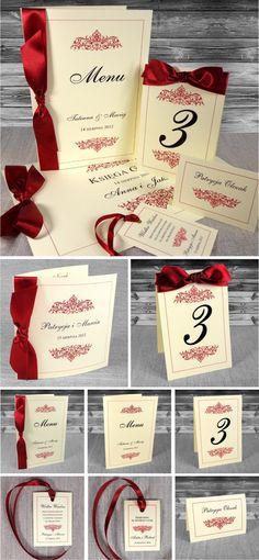 zaproszenia ślubne - Olivia ze wstążką Ornament, Menu, Weddings, Menu Board Design, Decorating, Mariage, Wedding, Ornaments, Deco