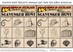 bnute productions: Free Printable World Explorer Indiana Jones Scavenger Hunt Game