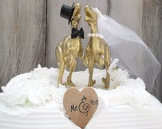 Dinosaur Wedding Cake Topper Gold Dinosaur by MrandMrsCakeToppers