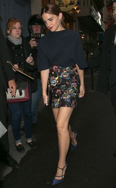 Emma Watson from Paris Haute Couture Fashion Week 2014: Star Sightings  Emma's on quite the stylish roll! The star steps out in another winning number, this time wearing a Dior printed skirt and blue top combo at the designer's dinner party.